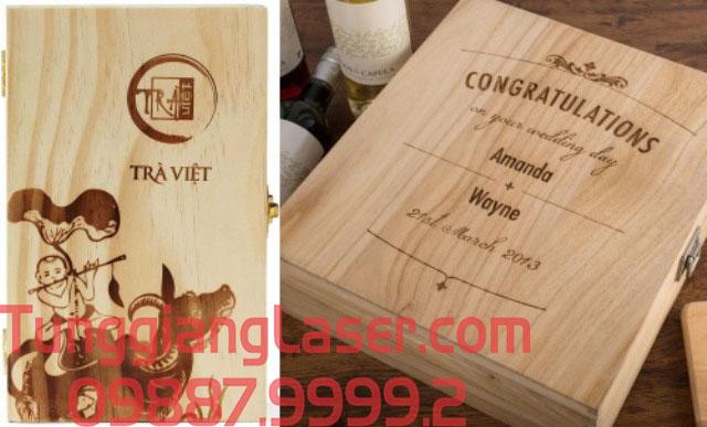 Khắc Laser hộp rượu gỗ giá rẻ